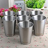 UName Set of 7 Stainless Steel Pint Cups,Party Cups,Large Cups,Camping Cups,10oz UN153