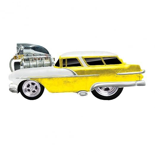 Maisto - 2043065 - Maquette De Voiture - Pontiac Safari Wagon '56 - Jaune/blanc - Echelle 1/18