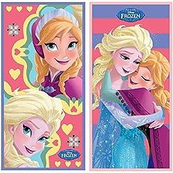 Telo Mare Asciugamano Rosa e Viola Elsa ed Anna Disney Frozen