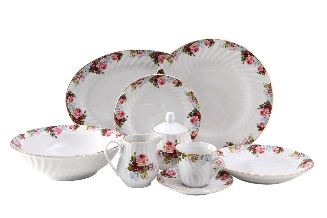 Philomena Dinner Set 45pc with Gold Trim; Vintage Floral 0