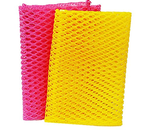 Innovative Dish Washing Net Cloths / Scourer - 100% Odor Free / Quick Dry - No More Sponges with Mildew Smell - Perfect Scrubber for Washing Dishes - 2 Pcs in a Pack - Yellow/Pink - 11 by 11 inches