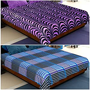 Story@Home Coral Collection Soft Printed Fleece Double Bed Blanket, Set of 2, Purple Black