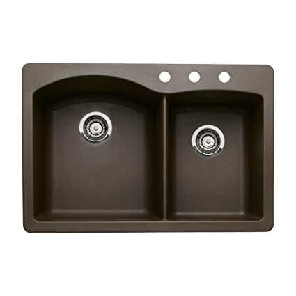 Blanco 440213-3 Diamond 3-Hole Double-Basin Drop-In or Undermount Granite Kitchen Sink, Cafe Brown