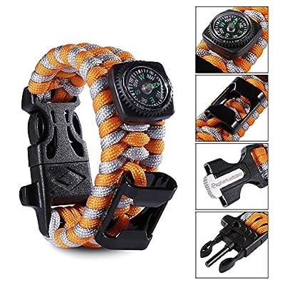 Elephant Outdoor Paracord Bracelet - 4 Colors 3 Sizes Camping Gear with Compass, Knife Scraper, Whistle, Flint Fire Starter, Bottle Opener, Fit Men, Women, Kids - A Must Have Survival Gear