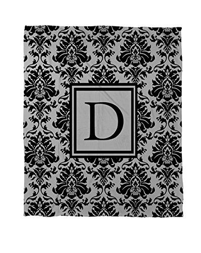 Thumbprintz Duvet Cover, King, Monogrammed Letter D, Black And Grey Damask front-924837