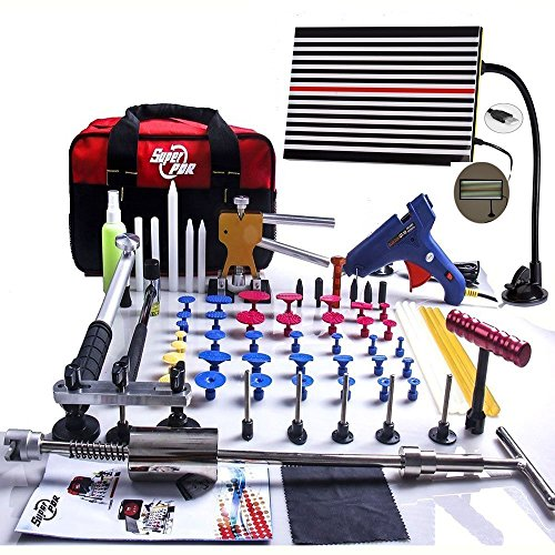 Super PDR 68pcs Auto Body Paintless Dent Removal Repair Tools Kits Dent Lifter Slide Hammer Pro Tabs Tap Down LED Reflector Board With Tool Bag (Auto Repair Tool Kit compare prices)