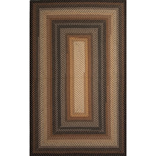 5' x 8' Sandy Tan, Chocolate Caramel and Steel Gray Braided Cocoa Bean Area Throw Rug