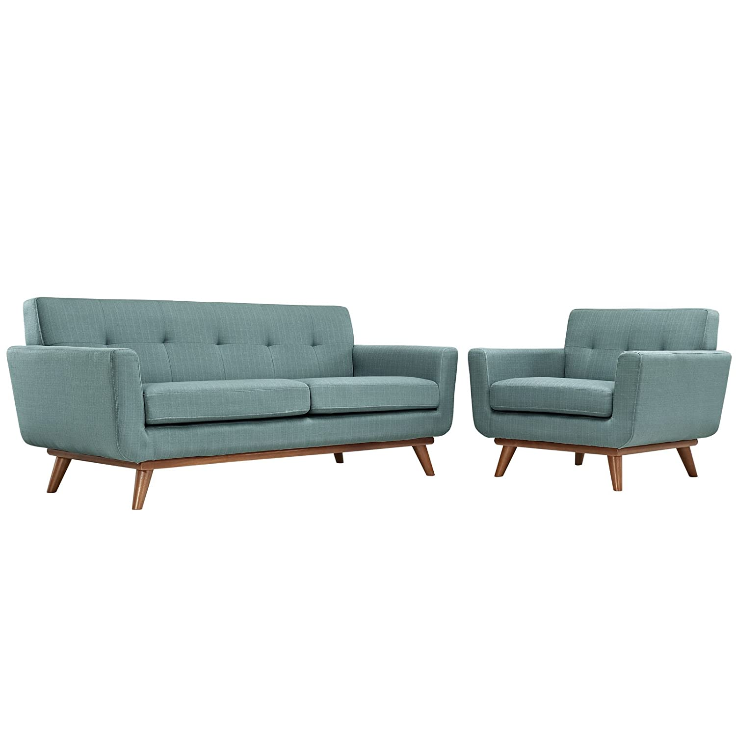LexMod Engage Armchair and Loveseat Set of 2 in Laguna