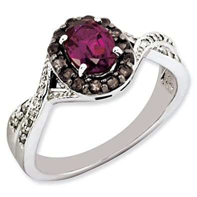 Sterling Silver Rhodolite Garnet and Smokey Quartz & Diamond Ring