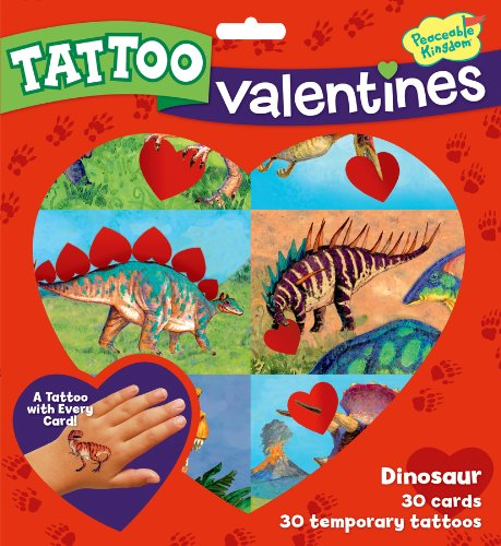 Peaceable Kingdom / Dinosaur Temporary Tattoo Valentine Cards