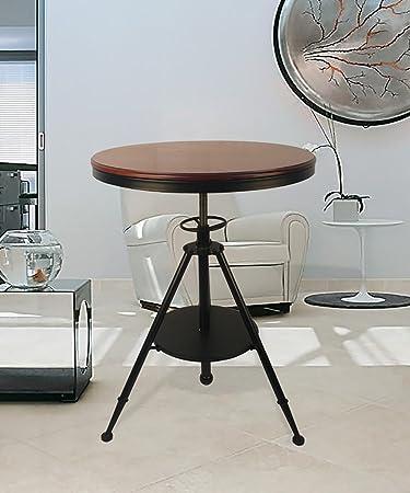 Mesa auxiliar Mesa redonda de hierro American Minimalist Retro Cafe Bar Levantar y bajar mesa de centro Estantería de madera maciza