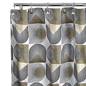 Retro Metallic Silver Fabric Shower Curtain Gold Black On Silver Body