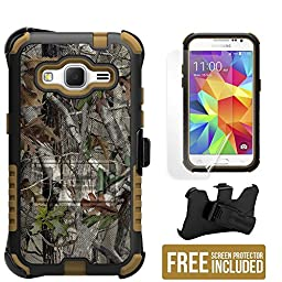 Samsung Galaxy Core Prime G360/Galaxy Prevail LTE/SM-G360/G360P (Boost Mobile,Virgin Mobile)(2014)Beyond Cell ®3 in 1 Rugged High Impact Hybrid Anti-Shock Pads Hard + Soft Durable Armor Phone Case With 2 Layer Premium Protection With Built in Kickstand &