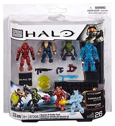 Mega Bloks, Halo, Spartan IV Battle Pack (UNSC Spartan Scout, Covenant Storm Jackal, Covenant Imperial Grunt, and UNSC Camo Recruit) (97208)