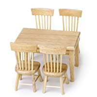 5pcs Wooden Dining Table Chair Model Set