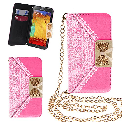 Xtra-Funky Exclusive Pu Leather Lace Pattern & Golden Bow Flip Case Cover Purse Handbag With Credit Card And Money Slots & Detachable Golden Chain For Samsung Galaxy Note 4 - Pink