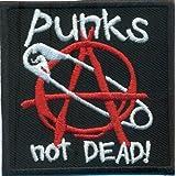 Patchking Q0-0Q0J-B4ZZ Punks Not Dead Anarchy Safety Pin Rockabilly Biker Iron On Patch Badge