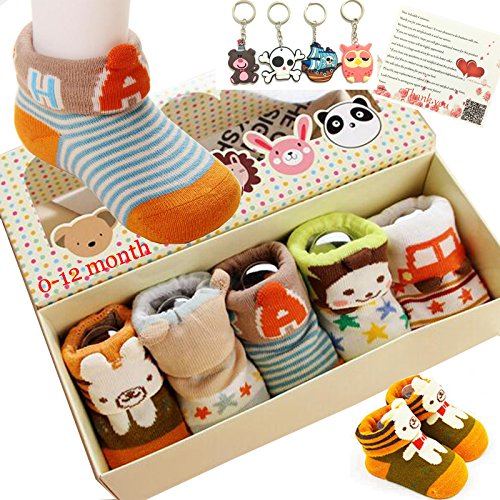 Fly-love-5pairs-Animal-Non-Skid-Slip-Toddler-Socks-Cotton-Unisex-Baby-Crew-Sock-0-18-months-With-Box
