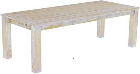Brasil 'Rio' 240 x 100 cm Solid Pine Wood – Shabby Chic Furniture Dining Table Honey