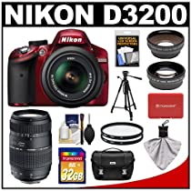 Nikon D3200 Digital SLR Camera & 18-55mm G VR DX AF-S Zoom Lens (Red) with 70-300mm Lens + 32GB Card + Case + Filters + Tripod + Telephoto & Wide-Angle Lens Kit