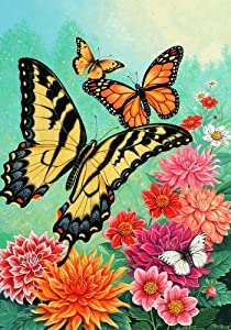Spring Summer Monarch Butterfly Floral House Flag