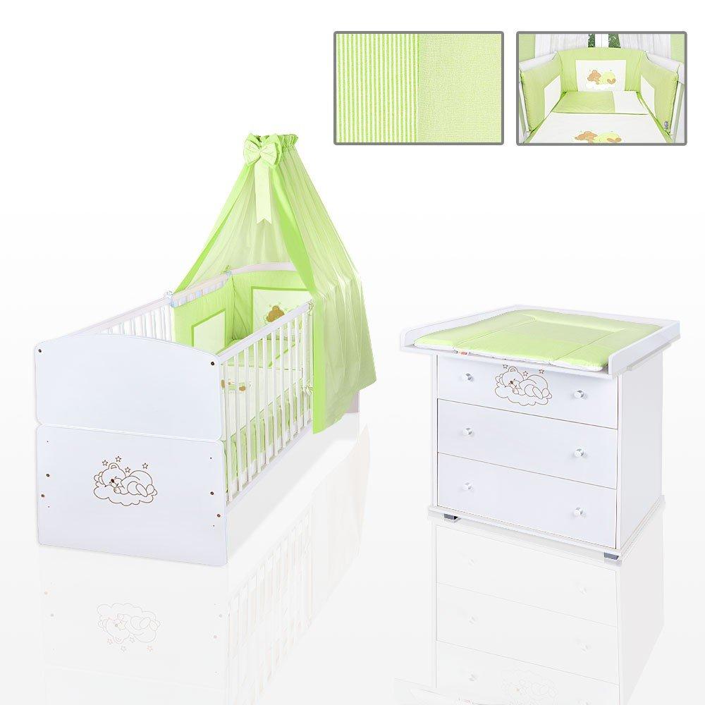 Sparset 11-tlg. Babybett Juniorbett Kommode + Bettset, Auflage in Grün, Matratze