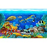 Tallenge Art For Kids Room Décor - Tropical Colorful Fish - A3 Size Rolled Poster