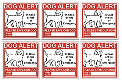 6 Dog Alert Safety Warning Window Door Stickers; In Case of Fire Notify Rescue Personnel to Save Dog