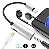 Lightning to 3.5mm Headphone Jack Adapter , Excellenter Lighting Audio Music Headphones Charger Adapter Splitter for Iphone 7 / 7 plus / 8 / 8 plus / X , support ios 10.3 and later