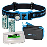 EdisonBright Olight H1 500 Lumen CREE LED headlamp in Carry case with 2 X Olight CR123 Lithium Batteries Battery case (Color: Black)