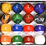 Iszy Billiards Tech Marble Style Pool Table Billiard Ball Set, Regulation Size & Weight