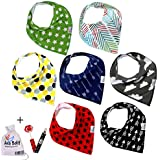 Premium Baby Bandana Drool Bibs With 3 Snaps By Ana Baby 7-Pack 100% Organic Cotton For Boys And Girls Free Pacifier...