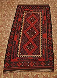NAVAJO 5\' x 9\' Kilim Tribal Hand Woven Flat Weave Handmade Striking Beauty