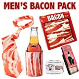 Men's Bacon Gift Pack (5pc Set) - Bacon Tie, Wallet, Cozy / Koozie, Mints & Toothpicks - Father's Day Gift for Dad