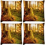 Snoogg Trees Cut Down Pack Of 4 Digitally Printed Cushion Cover Pillows 14 X 14 Inch