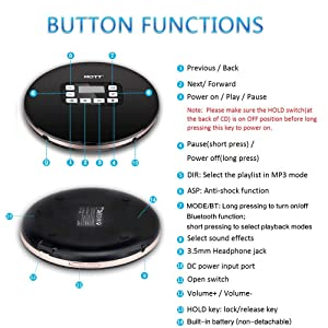 Portable CD Player with Bluetooth, Personal Compact CD Player with Earbuds/LCD Display/USB Power Adapter, Portable Disc Player with Electronic Skip Protection and Anti-Shock Function, Black (Color: CD611T-Bluetooth version)