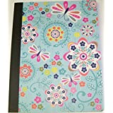 "Pink Light Design Composition Book ~ Fluttering Lovely (Flowers With Butterflies; 9.75"" X 7.5""; 100 Sheets, 200..."