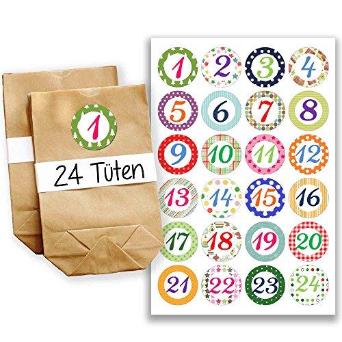 adventskalender set 24 braune geschenkt ten und 24 bunte. Black Bedroom Furniture Sets. Home Design Ideas