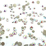 CRYSTAL AB (001 AB) Tiny small sizes mixed with Swarovski 2058 Xilion Rose flatbacks sizes ss3, ss5, ss6, ss7, ss9, ss10 No-Hotfix rhinestones nail art 144 pcs (1 gross) *FREE Shipping from Mychobos (Crystal-Wholesale)* (Color: clear, Tamaño: ss3)