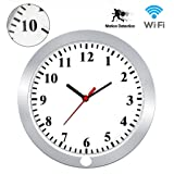 KAMRE HD 1080P WIFI Wall Clock Hidden Spy Camera Support IOS/Android/PC Remote Real-time Video and Motion Detection Alarm (Color: WH47)