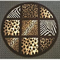 Animal Prints Round Rug 5 Ft. 6 In. X 5 Ft. 6 In. Design # S 251 Chocolate