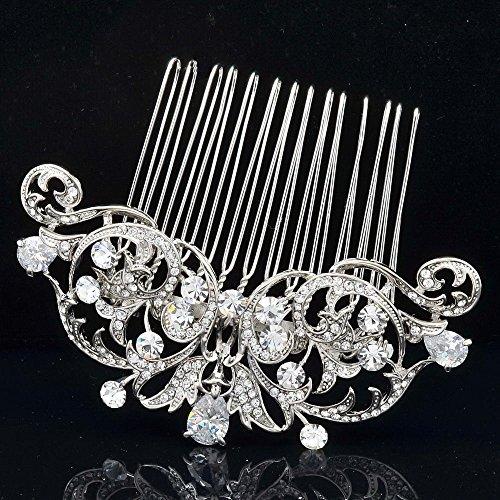 Sepjewelry 2253R Vintage Style CZ Rhinestone Hair Comb Pin Clip 3