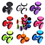 NASAMA 8pair Acrylic Stud Earrings Barbell Fake Gauges Kit Faux Plugs 16 Pieces (Acrylic 16pcs)