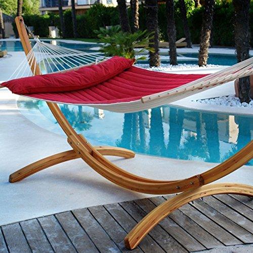 Lola Hängematten Set American Lifestyle Hammock Beige Rot mit Holzgestell Arcus online bestellen
