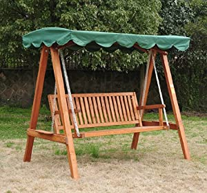 3 Seater Wooden Wood Garden Swing Chair Seat Hammock Bench Furniture Lounger Bed Fsc