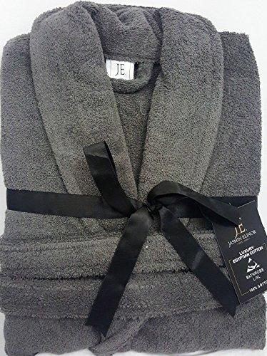 Herren Damen Unisex Ägyptische Baumwolle Frottee Bademantel Bademantel, anthrazit, S/M