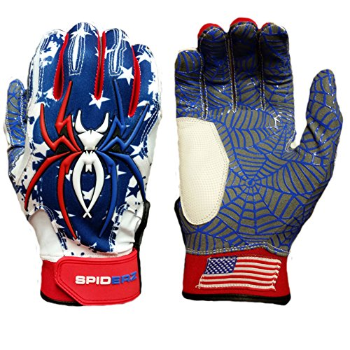 2016 Spiderz USA Flag HYBRID Baseball/Softball Batting Gloves w/Spider Web Grip and Protective Top Hand in Adult & Youth Sizes - Professional (PRO) Quality (Adult X-Large) (Slow Pitch Batting Gloves compare prices)