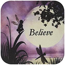 3dRose cst_35696_2 Believe, Fairy with Dragonflies with Moon and Purple Sky-Soft Coasters, Set of 8
