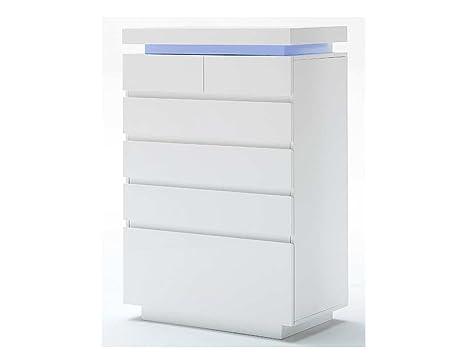Kommode in Hochglanz weiß mit 6 Schubkästen, inkl. LED-Beleuchtung, Maße: B/H/T ca. 73/114/40 cm