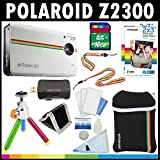 Polaroid Z2300 10MP Digital Instant Print Camera (White) with 16GB Card + Pouch + Tripod + Zink Paper (60 Pack ) + Straps + Accessory Kit